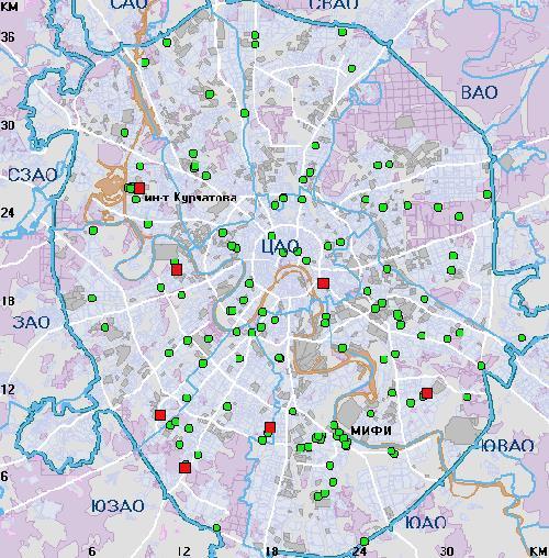 Карта радиоактивного загрязнения Москвы. Красным обозначены участки с очень сильным уровнем радиации, зеленым - с умеренным.