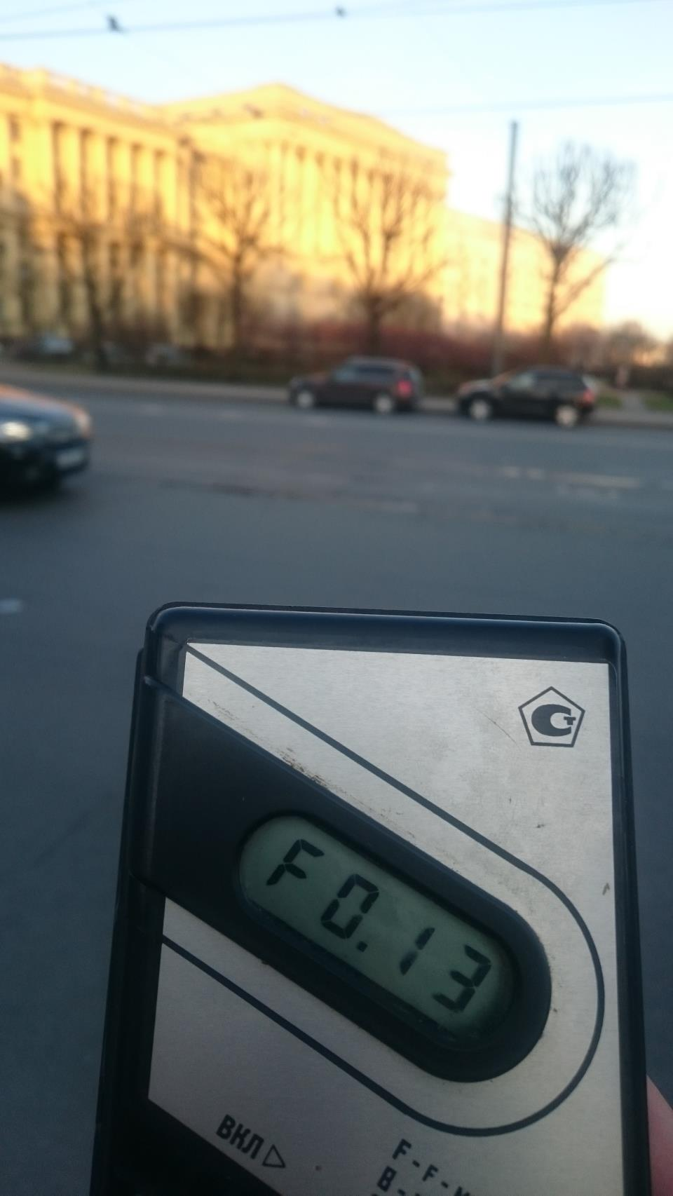 Точка измерения МЭД гамма-излучени на улице Куйбышева у дома 2 в Санкт-Петербурге