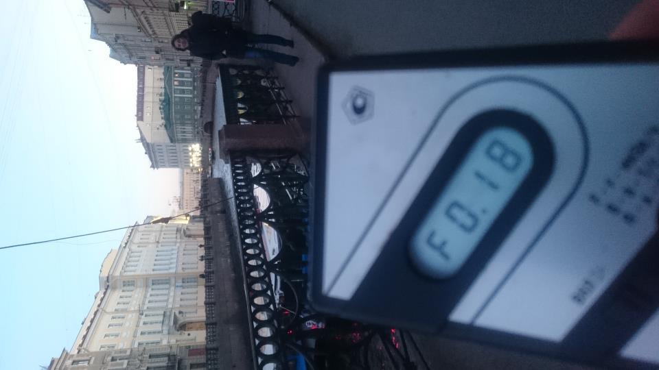 Точка измерения МЭД гамма-излучени на набережной реки Мойка в Санкт-Петербурге