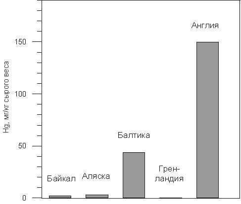 Содержание ртути в печени тюленей (по данным Watanabe et al., 1996).