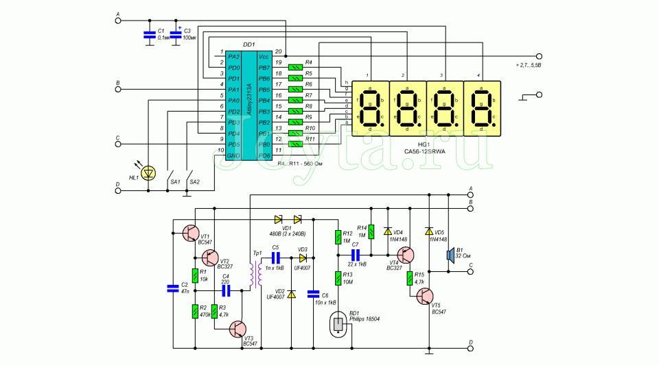 Цифровой дозиметр на микроконтроллере Attiny2313