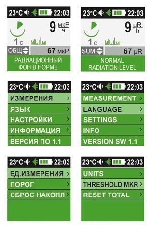 информативный дисплей дозиметра EcoLifePro 1