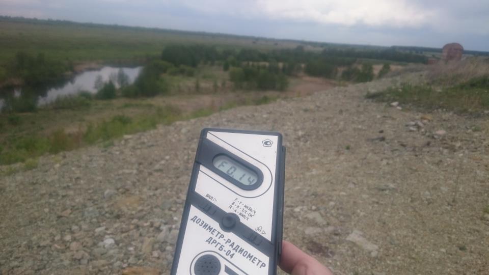 Точка измерения МЭД гамма-излучения в окрестностях реки Теча в поселке Муслюмово Кунашакского района Челябинской области