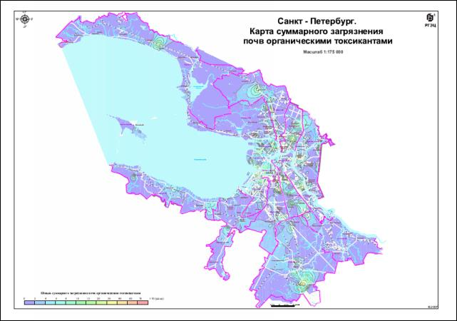 Карта загрязнения почвы органическими токсикантами