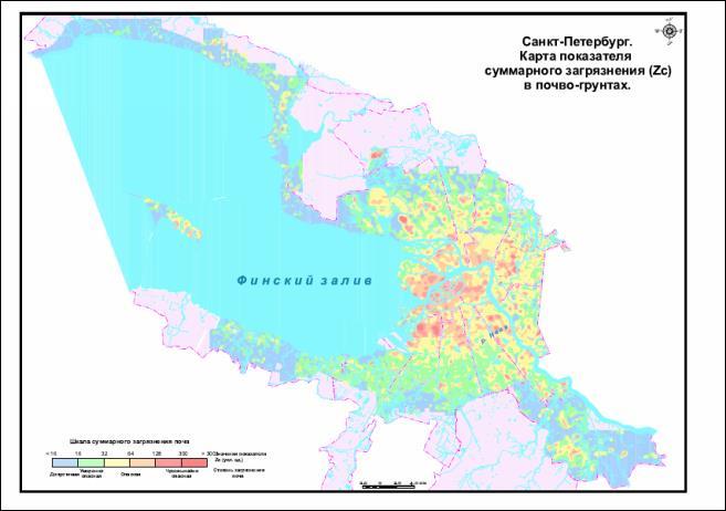 Карта загрязнения почвы свинцом