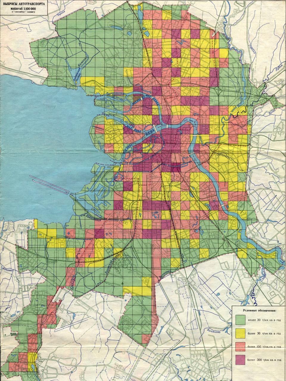 Распределение выбросов от автомобильного транспорта по районам СПб