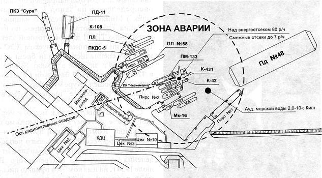 Схема радиационной аварии на СП3-30 в б. Чажма 10 августа 1985 г. Источник: Wikimedia Commons