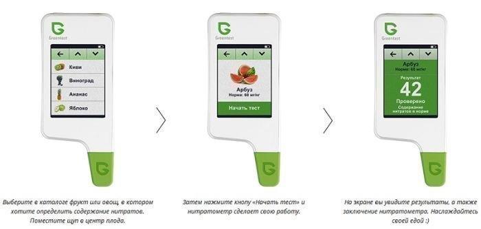 Процесс измерения нитратов в продуктах состоит из трех несложных этапов