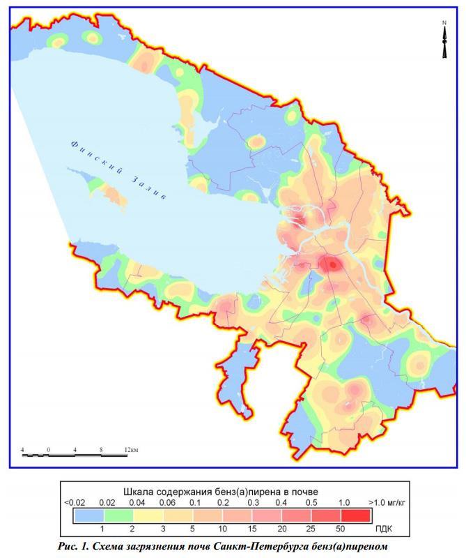 Карта загрязнения почвы тяжелыми металлами