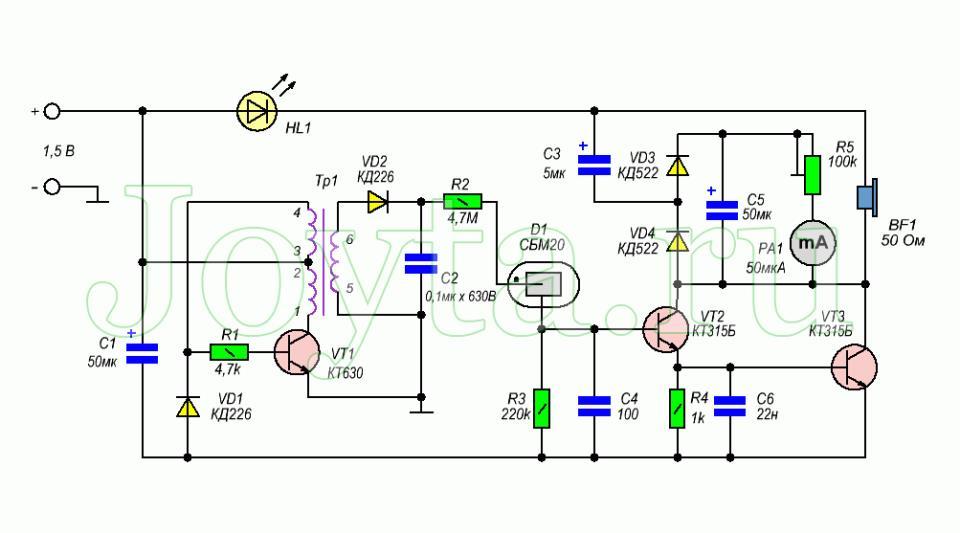 Схема счетчике Гейгера-Мюллера СБМ-20