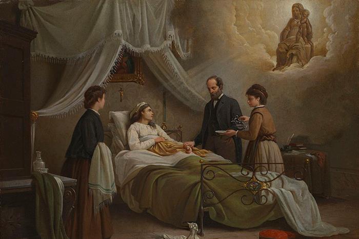 R.Pistoni. A woman in bed in a sick-room, atten...