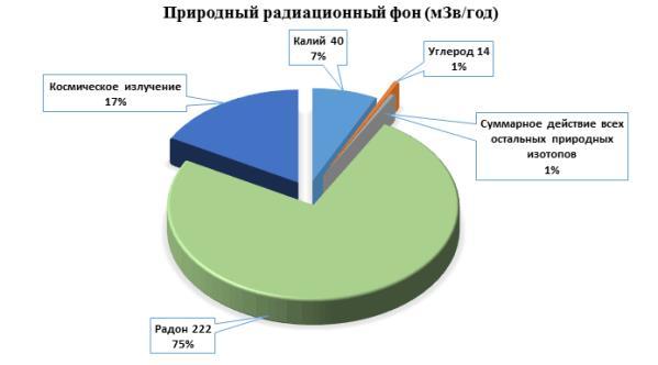 изображение с диаграммой состава природного радиационного фона