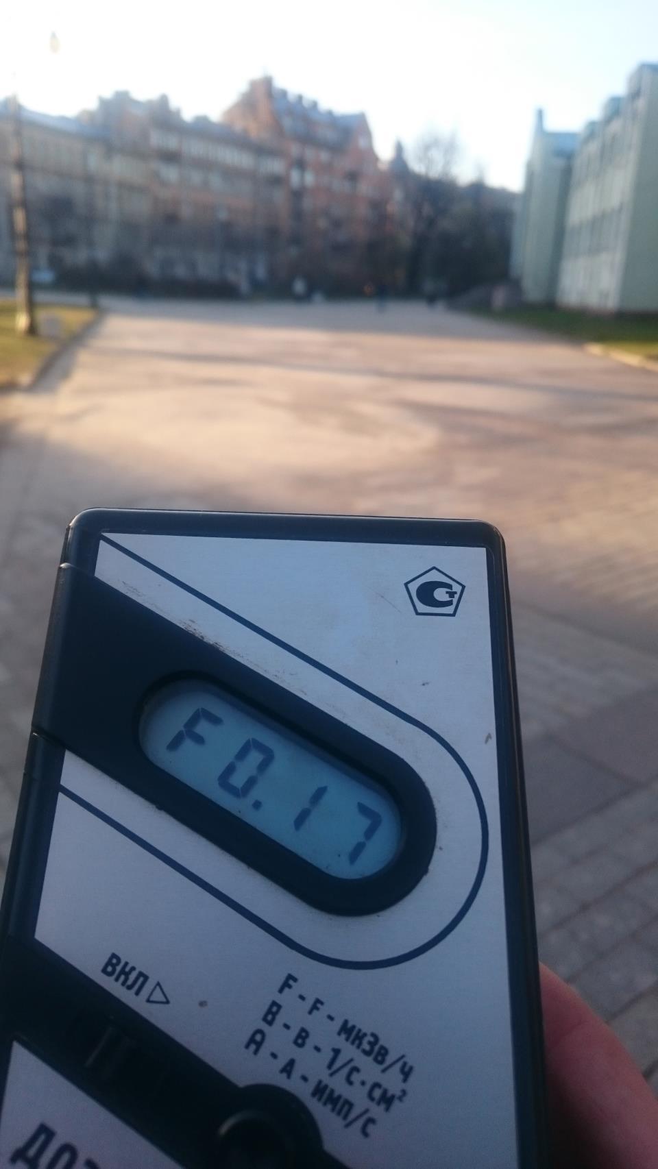 Точка измерения МЭД гамма-излучени в Александровском парке в Санкт-Петербурге