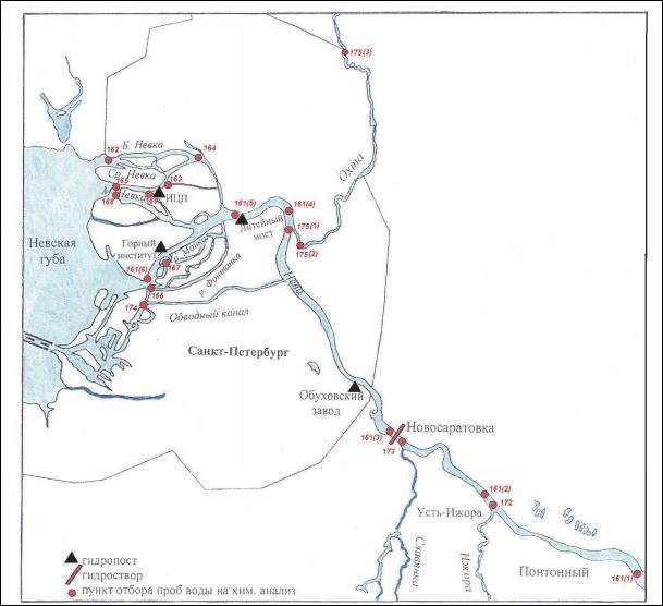 Карта расположения створов мониторинга качества воды
