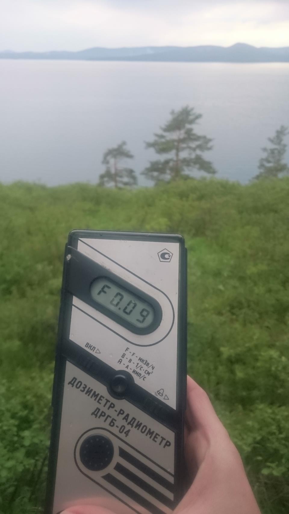Точка измерения МЭД гамма-излучения у озера Тургояк в Челябинской области недалеко от г. Миасс