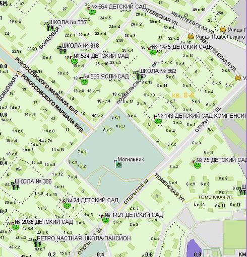 Карта радиоактивного могильника на бульваре Маршала Рокоссовского.