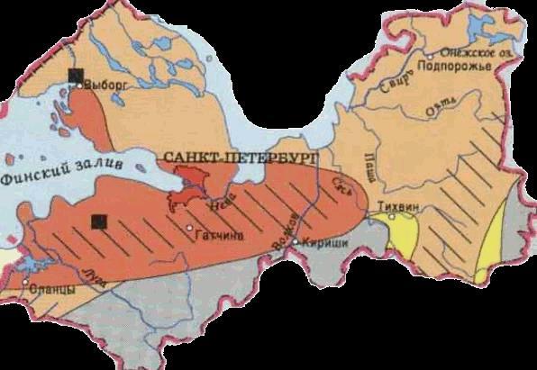 Карта Ленобласти с зонами потенциальной радоноопасности